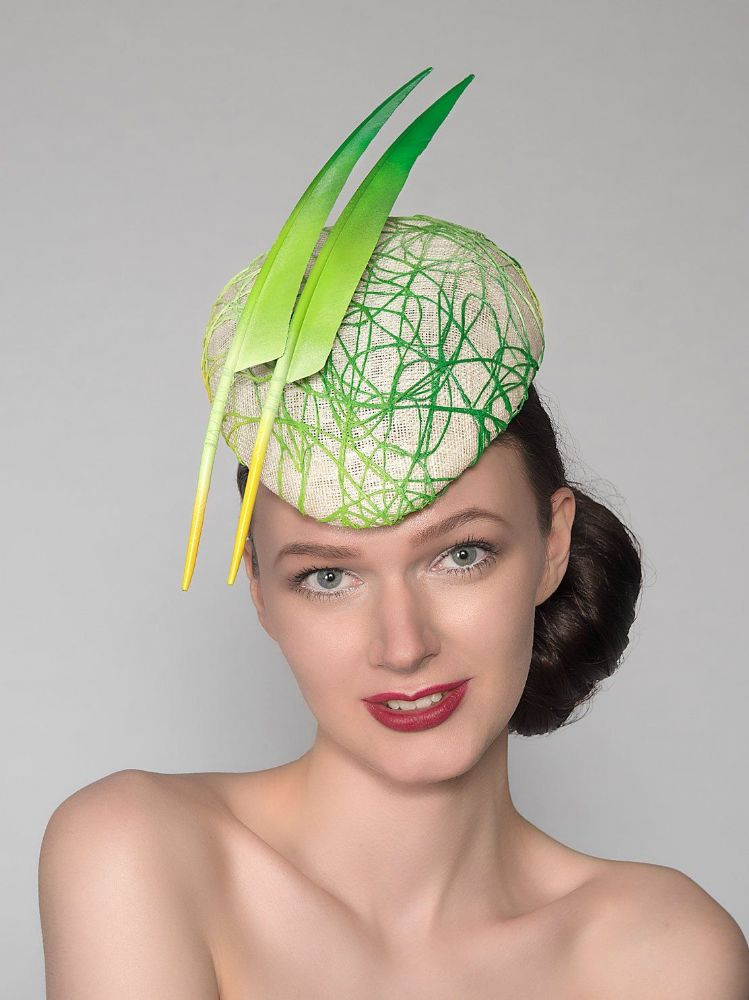 "Emerald Lime Mint Green Yellow Headpiece ""Emma"" Graffiti Beret Hat  Royal Ascot Kentucky Derby Races"